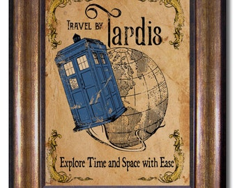 Doctor Who - Tardis Vintage Style Poster - Multiple Sizes 5x7, 8x10, 11x14, 16x20, 18x24, 20x24, 24x36