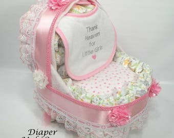 Girl Diaper Cake   Unique Baby Shower Gift Or Centerpiece   Basinet   Baby  Carriage Diaper
