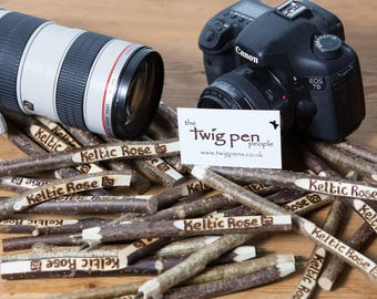 10x Business name  Twig pen. Rustic and unique personalised twig pen.