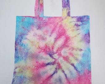 Pink, purple,blue and yellow tie dyed tote bag.