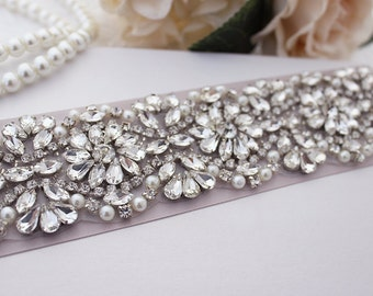 Bridal Sash Belt, Wedding Dress Belts, Bridal Belt,  Crystal & Pearl Bridal Belts, Rhinestone Bridal Belt, Hand Beaded Bridal Belt/ B204