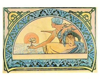 """Alphonse MUCHA 1976 Authentic Vintage Art Nouveau PRINT """"Nenuphar"""""""