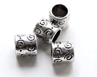 20pcs--Round Tubes Beads Metal, Antique Silver, 9mm (B38-22)
