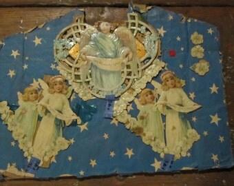 Antique Vintage Victorian Christmas Scrap Paper Die Cut Angels and Flowers GERMAN (?) - Repurpose or Use As Is