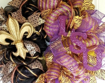 Saints LSU wreath, team spirit wreath, dual team wreath, mesh team wreath