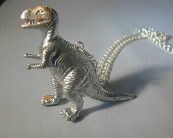 dinosaur silver dino necklace statement