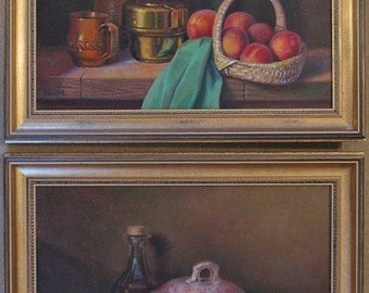 Pair of Gilt-Framed Oil Paintings on Canvas by Georges Veller