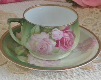 Bavarian Porcelain Hand Painted Roses Teacup & Saucer, Victorian, Cottage Chiccottage chic