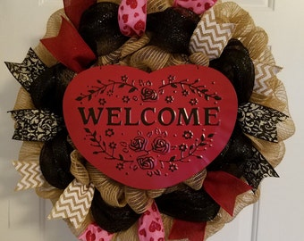 Heart Welcome Wreath! Limited Quantities Available!! Valentine's Day Wreath, Heart Wreath, Door Decor, Wreath, Vday