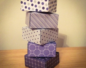 Origami boxes - 5 blue origami gift boxes. Great for small presents and as a presentation box