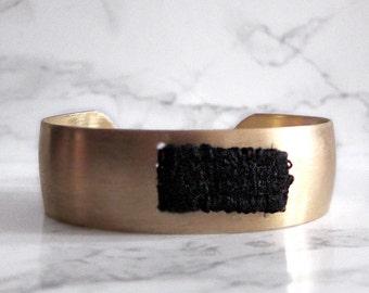 Brass Cuff Bracelet - woven tapestry - fabric bracelet - woven bracelet - textile bracelet - modern cuff bracelet - boho bracelet