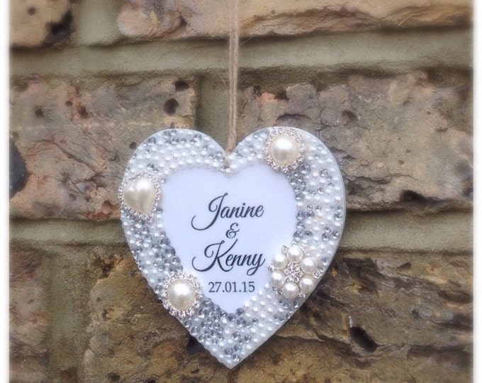 Personalised hanging heart pearls & crystals | Any wording | wedding gift | Christmas hanging heart | Mother's Day | Christmas decoration