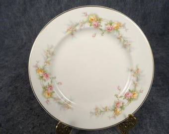 Harker Pottery Co. 9 Vintage Bread Plates With Shadow Rose Pattern