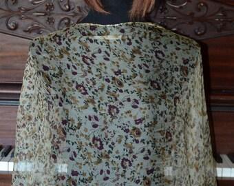 Diaphanous floral chiffon silk scarf