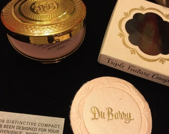 DuBarry triple feature compact - new old stock vintage powder compact - vintage DuBarry compact - dresser compact  - vintage mirror compact
