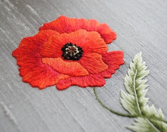Silk shaded poppy embroidery kit