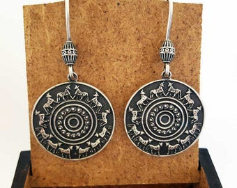 """ArmRoot Handmade Silver Earrings """"Collection Urartu"""" , Armenian Jewelry, Armenian Silver, Armenian Earrings, Armenian Gift, Urartu, Van"""