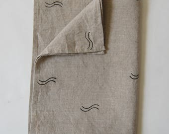 Natural Linen Tea Towel Blockprinted Wave