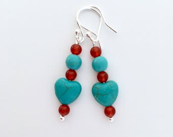 Turquoise and Carnelian earrings with Sterling silver, turquoise heart earrings, turquoise and red, gift for mum, aunt gift, sister gift