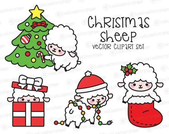 Premium Vector Clipart Kawaii Christmas Sheep Cute