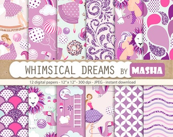 "Purple digital paper: ""WHIMSICAL DREAMS"" with whimsical digital paper, whimsical pattern, fantasy pattern, 12 images, 300 dpi. jpg files"