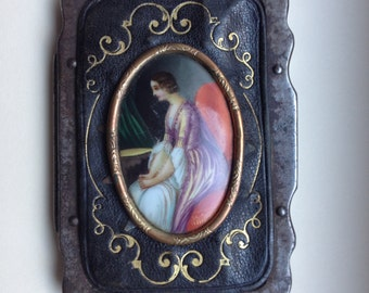 Antique Leather Coin Purse with Porcelain Portrait