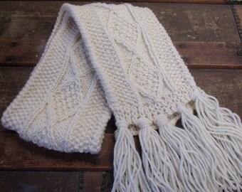 Kids Thin Aran Hand Knit Scarf   Childrens Wool Scarf   Kids Traditional Aran Scarf   Thin Scarf