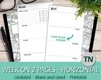 TN Regular - Undated Week on Two Pages Horizontal Layout, Habits & Tasks Tracker, Lined - Printable Planner Insert Traveler's Notebook, PDF