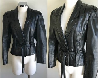 Vintage 1970s Fitted Black Belted Leather Motorcycle Jacket Biker Chic Moto XS S