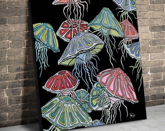 Jellyfish.  Original Acrylic painting on 29 x 29 inch wood panel. Ready to hang. No frame required.  Original painting by Shanni Welsh.
