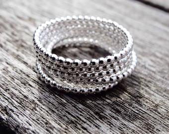 Beaded ring, Thin silver ring, dainty rings, sterling silver band ring, silver stacking rings, matching rings, silver ring set