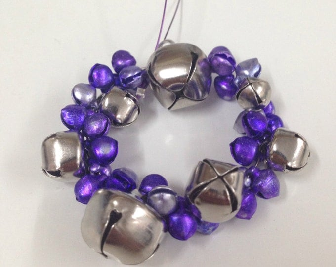Lilac and silver jingle bells wreath Christmas tree ornament, purple colour jingle bells Christmas tree ornaments, Christmas decorations