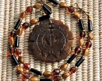 Sale! Dark Jade Pendant with Czech glass Necklace