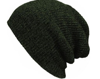 Slouchy Beanie - Stretchy - Knitted - PINE GREEN - Hat