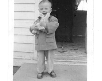 "Vintage Photo ""Holding the Easter Bunny"" children, old photo, black and white photo, snapshot, photography, paper ephemera, antique"