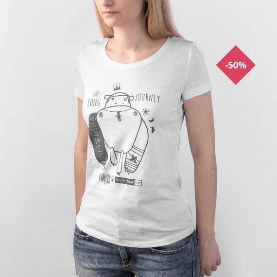 Woman Graphic Tee White Organic Cotton - Monkey Tattoo ...
