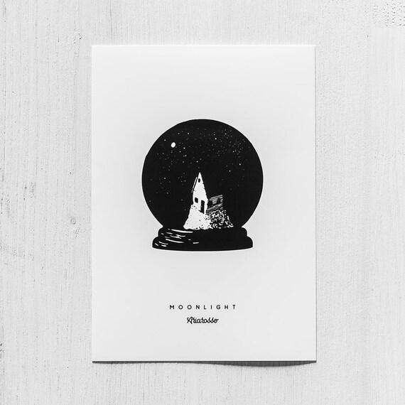 Poster Art Print - Moonlight Blackwork Series A5 Size - Home Moon Star...