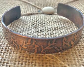 Laurel leaf etched copper cuff