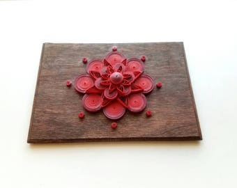 Handmade Paper Quilling Flower Mandella in Shades of Red on Reclaimed Wood Wall Art
