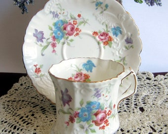 Hammersley 6072 with multi color Flowers Embossed Bone China Tea Cup and Saucer ca1940