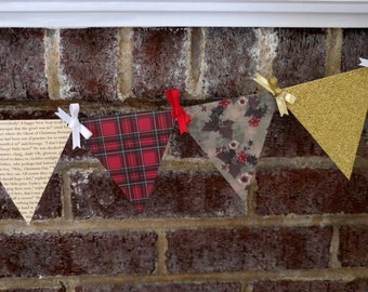 A Christmas Carol Paper Pennant Banner / Book Page Decor / Christmas Garland / Holiday / Dickens / Victorian / Party / Bunting / Garland
