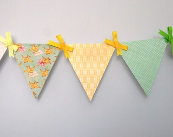 The Birds and the Bees Mini Paper Pennant Banner / Baby Shower / First Birthday / Gender Neutral / Nursery Decor / Bunting / Garland