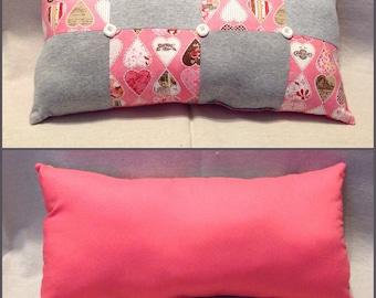 Patchwork Hearts Decorative Pillow