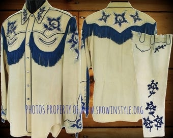 Rodeo Ben Vintage Western Men's Stage & Parade Style Suit, Blue Floral Embroidery, Rhinestones, Approx. Medium (see meas.)