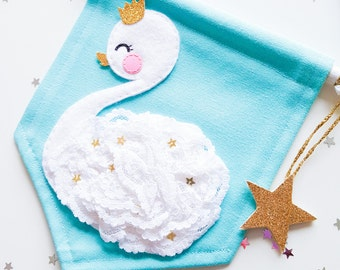 Baby swan mini banner - Turquoise