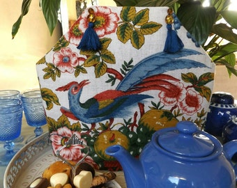 Tea Cosy with Bird, Tea Cosy with Tropical Bird, Flowers and Fruit