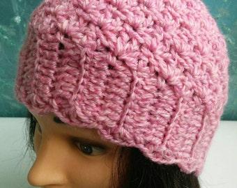 Sweet pink crochet hat
