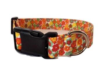 Orange Daisy Dog Collar puppy Red Yellow green Flower Hippie Retro cotton Fabric