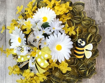 Bumble Bee Deco Mesh Wreath Spring Wreath Summer Wreath Cute Adorable Bee Wreath Bumble Bee Home Decor