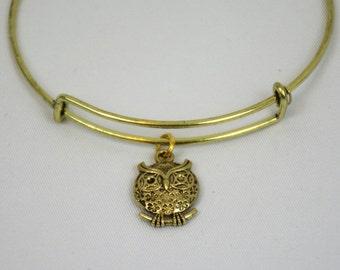 Owl Bangle Bracelet, Gold Bangle Bracelet, Gold Owl Bangle, Adjustable Bangle Bracelet